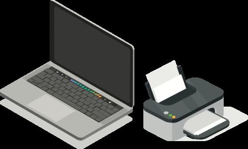 equipamentos liquido: pc e impressora